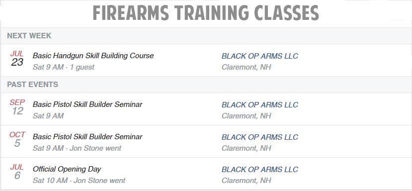 Gun Training Events